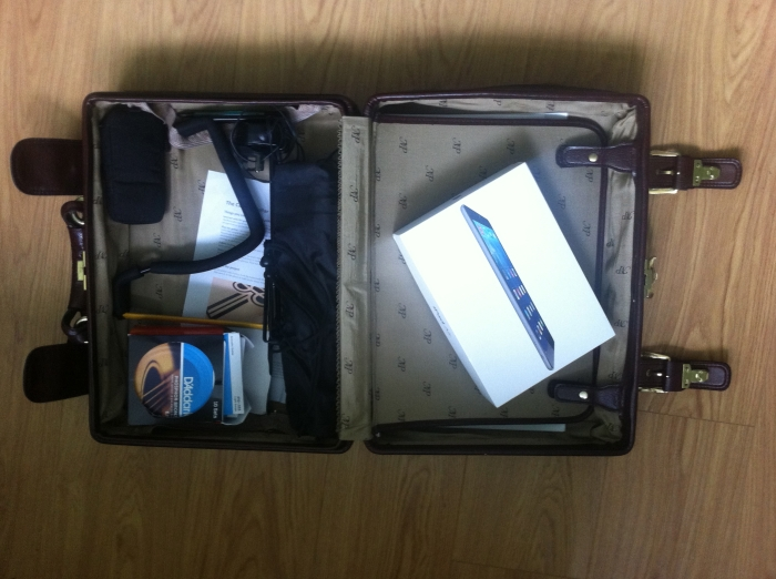 Inside the accessories case