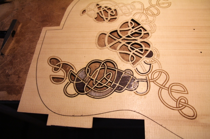 Gluing the inlay in place
