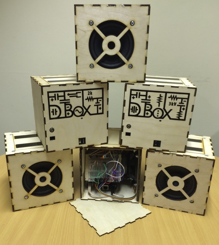 Our family of six D-Boxes, each inlaid with its own distinct Atcode