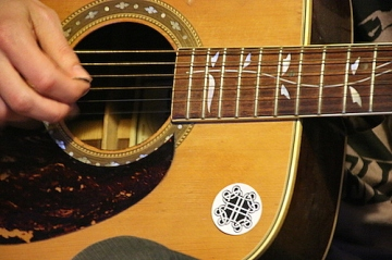 Geart sticker on guitar